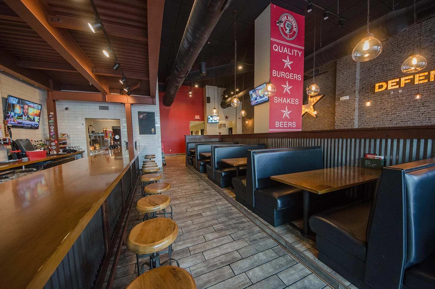 Burger Republic booths and bar